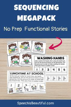 Sequencing and story telling activities: This no prep sequencing mega pack includes sequencing picture cards and visual supports for story telling. Hope you find this activity useful for your speech therapy sessions! Speech is Beautiful #speechtherapy #speechtherapyvisuals #sequencing #languageactivities