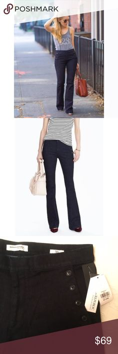 NWT Sailor Flare Dark Rinse Denim by BR sz 32Tall NWT!! Sailor Flare Dark Rinse Denim by Banana Republic. Premium Denim: Figure-transforming fit. Unsurpassed recovery. Body conforming stretch. Mid rise. Skinny through the hip and thigh. Flare leg. Sits below the waist. Skinny through the hip and thigh. Flare leg. Size 32 Tall (*14 Tall). Dark Blue wash.  Zip fly w/ hook-and-bar closure. Front off-seam pockets, Rear welt pockets. 80% Cotton, 13% Polyester, 5% Elite Polyester, 2% Elastane…