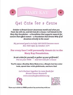 October is Breast Cancer Awareness!!!! If you have a party with me I will be donating to the cause.. www.marykay.com/Robyn.arnone
