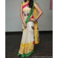 RE - Decent White Net Chain Work Butta Saree