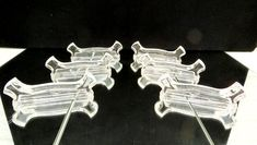 Vintage 6 crystal knife rests, val saint lambert, Belgium Knife Rests, glass knife rest, dining dinner table knife rest cutlery rest by EbyVintage on Etsy