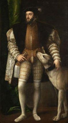 Tiziano - Ritratto di Carlo V con il cane. 1532–1533  Museo del Prado