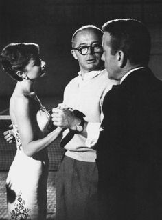 On-set of Sabrina with Billy Wilder and Audrey Hepburn