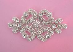 Rhinestone Applique Silver  Madeline I by PrettyThingsSupplies, $11.50