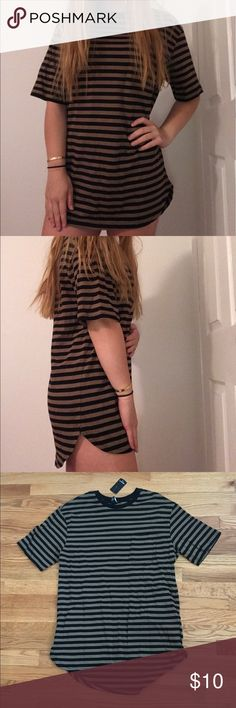 Striped Long Tshirt (Dress) Mens Shirt, Tan and Black Stripes, Can be worn as a dress Forever 21 Tops Tees - Short Sleeve