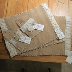Burlap and Lace placemats with matching silverware pocket/napkin holder by LostinTimeNaturals: Burlap Lace, Burlap Flowers, Hessian, Burlap Projects, Burlap Crafts, Sewing Hacks, Sewing Crafts, Sewing Projects, Creation Deco