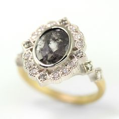Megan Thorne Limited Collection Ribbon Frame Ring with grey rustic diamond