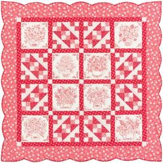 A free digital pattern for the pretty throw-size Love in Bloom quilt designed by Darlene Zimmerman of Needlings by Darlene and FeedsackLady. This confident beginner quilt project. Easy Quilt Patterns, Sewing Patterns, Quilting Projects, Quilting Designs, Quilting Ideas, Quilting For Beginners, Easy Quilts, Square Quilt, Digital Pattern
