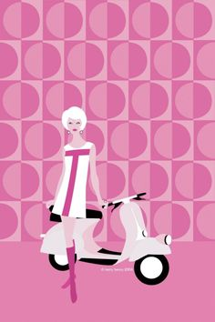 Pinkys Scooter - Retro 60's Scooter Art Print by Kerry Beary