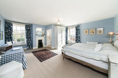 Restful & relaxing blue bedroom in Victorian manor house, Aug '16