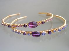 Amethyst Tanzanite Gold Cuffs Stacking Lilac by bellajewelsII