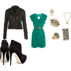 Love this feminine, jewel-toned dress paired with bold black accessories.