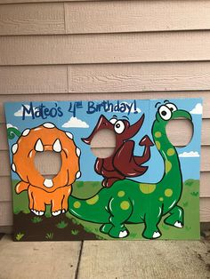 This will add the perfect touch to your dinosaur party! Kids and adults love posing in these, and the pictures can be sent to guests in their thank you card. This has been painted by hand onto a sturdy 3 foot tall, 4 foot wide trifold display board. This item is made to order. All of my