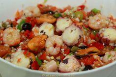 Receta de salpicón de marisco con pulpo: casera, de dieta mediterránea, sabrosa, fresca, light, apta para amantes de los productos del mar.