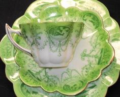 beautiful green and unique handle - Shelley Foley Wileman Snowdrop Tea Cup and Saucer Trio