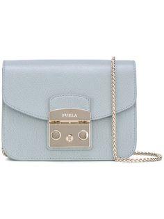 Meet Furla's signature handbag, the Metropolis Bag. This bag is charming, fun and has an iconic Blue Shoulder Bags, Designer Crossbody Bags, Blue Handbags, Mini S, Furla, Handbag Accessories, Luggage Bags, Calf Leather, Satchel