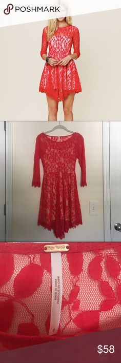 Free People Red Floral Lace Dress Off white slip dress with red floral lace overlay attached. Side hidden zipper. Great condition. The perfect holiday dress! Size 0 Free People Dresses Mini
