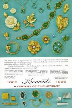 Vintage 1960s Jewelry Ad -  Krementz Mod Cuff Links, Necklaces and Brooches - Men and Womens Fashion.