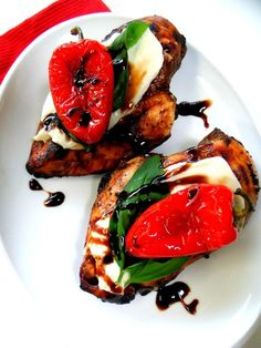Chicken marinated in balsamic vinegar, olive oil, garlic. Grilled, topped with mozzerella, basil leaves, tomato (or roasted red pepper). Drizzel with balsamic glaze - Like a caprese salad made better :)