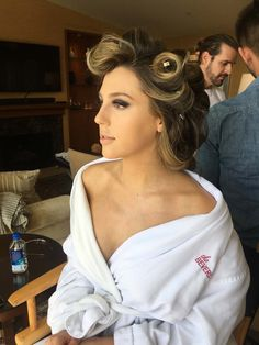 The lighting in our room was so great. Sophia looked stunning even with curlers in her hair. Stallone Sisters, Sophia Stallone, Sylvester Stallone, Family Affair, Curlers, Golden Globes, Looking Stunning, Big Day, Her Hair