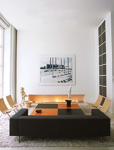 This modern fireplace is as classy as it is simple. Contemporary living room by Shinberg Levinas Architectural Design