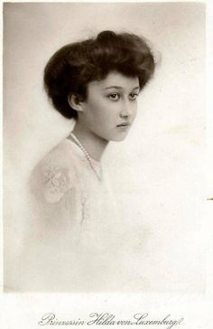 Princess Hilda of Luxembourg, father, Wilhelm IV, Grand Duke of Luxembourg; mother, Grand Duchess Marie of Luxembourg (née Infanta Marie Anne of Portugal). She married Adolf, 10th Prince of Schwarzenberg, Czechoslovakia