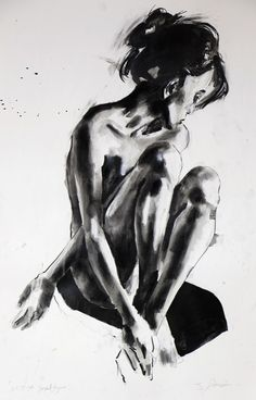 ARTFINDER: 6-17-14 seated figure by Thomas Donaldson - Figure study of seated Asian model in ink and charcoal on 200gsm paper