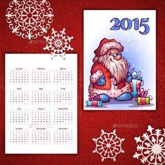 Vector Christmas Calendar with Santa and 2015