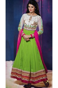Green Color long anarkali salwar kameez