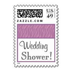 Lavender Purple and Pink Zebra Wedding Shower Postage Stamps