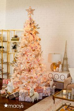 Shine bright this holiday season. A chic spin on classic holiday decor. Deck the halls with blush-colored ornaments and gold trimmings. Shop it all at macys.com