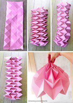 DIY paper origami lampshade lampenschirm plissee papier