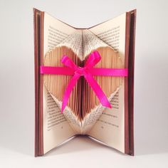 $60 HEART Folded pages Book Art with BOW by bridalbling on Handmade Australia