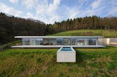 Üvegfal ház különleges medencével - homlokzat ötletek, modern stílusban