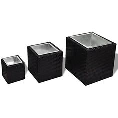 vidaXL Vasi Fioriera Set in Rattan 3 pezzi Colore Nero Tissue Holders, Facial Tissue, Container, 3, Products, Toilet Paper Holders, Beauty Products