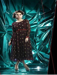Designer Brown Georgette Embroidery Kurti By Shreeji Fashion Kurtas and Kurtis For Women