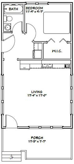 18x32 Tiny House -- 576 sqft -- PDF Floor Plan -- Model 1D