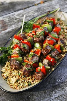 Sizzling Sirloin Kabobs. Sirloin marinated in a zesty, italian dressing then grilled to perfection and served over orzo. Summer grilling at its best kids.