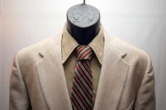 Men's Vintage Jacket Retro Tan Beige Blazer by VintageClothingWear, $30.00