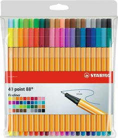 Stabilo 88 fineliner set of 40 Colouring Pens - Fine Liner Drawing Pen Stationary Store, Stationary School, School Stationery, Cute Stationery, Stabilo Pen 68, Stabilo Boss, Stabilo Point 88, Cool School Supplies