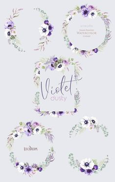 Wedding Watercolor Wreaths Dasty Violet Anemone Flowers
