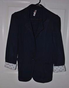 Women's Xhiliration Navy Blazer with Polka Dot Cuffs Size Small #Xhiliration #Blazer