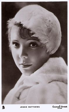 JESSIE MATTHEWS head & shoulder study, she faces left, looks front, wears feather hat & fur Timeless Beauty, Classic Beauty, Golden Girls, Golden Age, Ziegfeld Girls, Old Movie Stars, Feather Hat, Cinema, Head & Shoulders