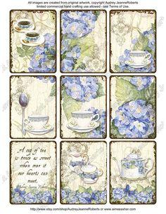 Blue Hydrangea Tea Original Art Digital ATC Tag Collage Sheets AJR-035 pot cup, altered art blue hydrangea spoon ephemera lace. $4.95, via Etsy.