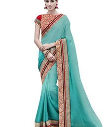 Buy Multicolor woven chiffon saree with blouse chiffon-saree online