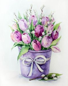 """Watercolor painting """"Red Tulips"""" by Julia Kirilina Watercolor Cards, Watercolor Illustration, Watercolour Painting, Watercolor Flowers, Painting & Drawing, Drawing Flowers, Watercolors, Painting Inspiration, Cool Drawings"""