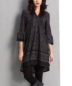 Black Paisley Notch Neck Bell-Sleeve Dress