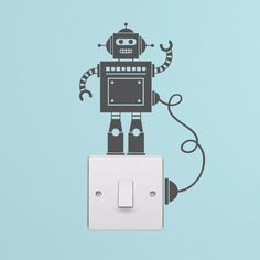 Tiny Robot Light Switch with Wire Decal Vinyl Wall by LedroDesign