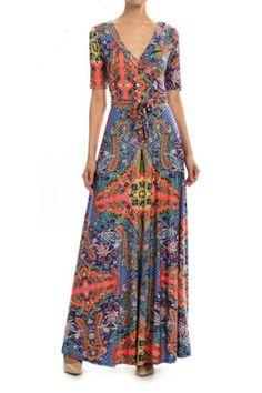 Boho chic Hindi-inspired Wrap Maxi dress.