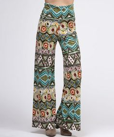 Take a look at this Olive & Blue Tribal Palazzo Pants by BOLD & BEAUTIFUL on #zulily today!